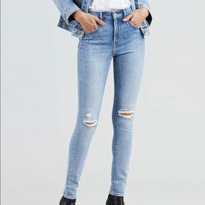 Levi's 721 High Rise Star Studded Skinny Jeans